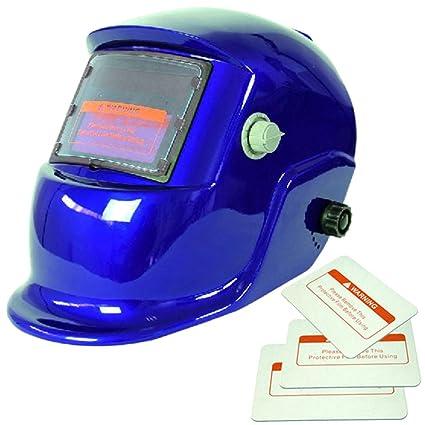 Energía Solar Oscurecimiento Automático Caretas para Soldar Casco de Soldadura Escudo Gafas Máscara Azul-brillante