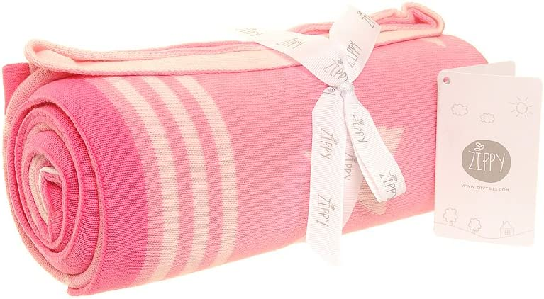 Ziggle Baby Reversible Blanket in Pink Stars for Nursery Cot and Pram 100/% Combed Cotton Knitted Perfect Gift