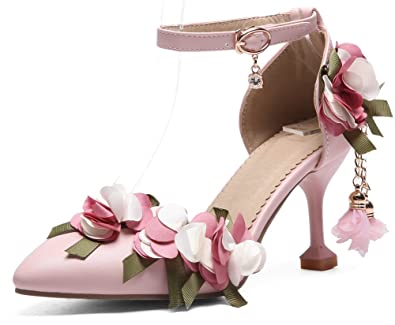 10eae02b28f8d IDIFU Women's Cute Floral Pointy Toe Ankle Strap Stiletto Mid Heeled  Pendant Pump Shoes for Party