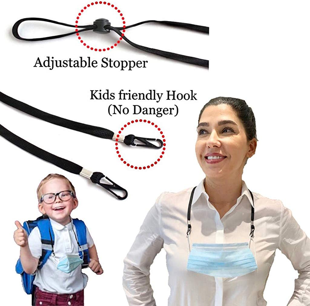 Frodete 10 Pack Adjustable Length Face M.a.s.k Lanyard Necklace Chain Strap Holder for Kids Women Men Holder Comfortable Around The Neck