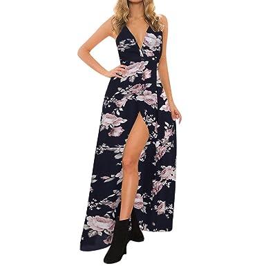 e96588812 Vestidos Sexy Elegante Mujer Verano 2019 ZARLLE Mujeres Verano Elegante Sin  Mangas Escotado por Detrás Largo Vestido Boho Impresión Floral Maxi Dress  para ...