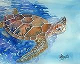 Sea Turtle Fine Art Print on 100% Cotton Watercolor Paper