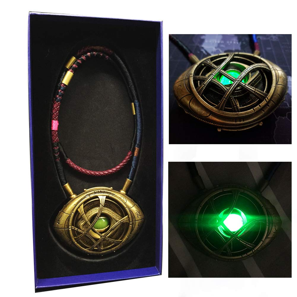 Gmasking 2018 Metal Eye of Agamotto LED Light-up Cosplay Necklace Pendant Exclusive 1:1 Props+Keychain