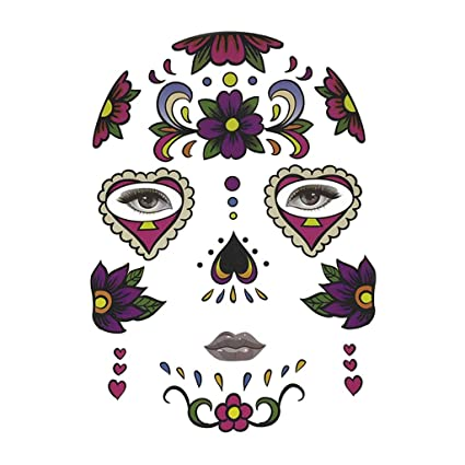 90fbc4c12 Buy Halloween Day of Dead Temporary Face Tattoo Kit Skull Cobweb Flower  Sticker - Floret, as described Online at Low Prices in India - Amazon.in