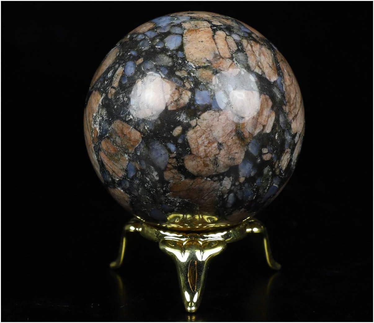 "Rikoo 2.0"" Que Sera Stone Llanite Crystal Ball Sphere with Metal Stand, Gemstone Ball Sphere, Fine Art Sculpture, Reiki Healing Stone Statue.1237"