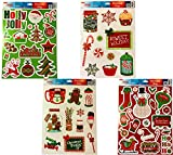 Christmas Static Removable Window Cling Decorations- 2 Large Sheet Sets Featuring Gingerbread Man, Snowmen, Santa, Treats and More (Set Of All 4)