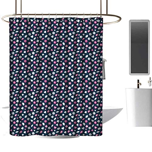 homehot Shower Curtains for Boys Diamonds,Round Marquise Square and Heart Shaped Crystals with Ruby Arrangement,Dark Blue Pink Pearl,W108 x L72,Shower Curtain for Girls
