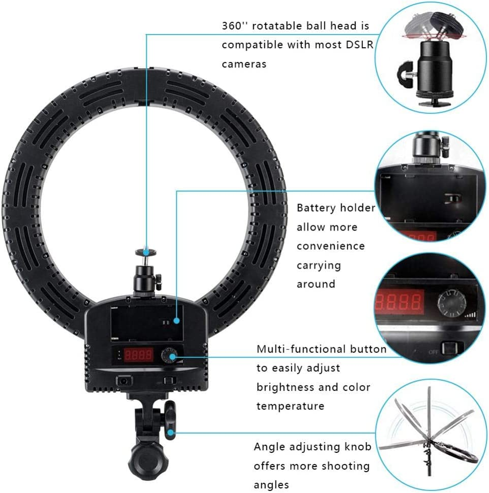 TomaticAu 12 LED Ring Light Mini LED Camera Light with Tripod Stand Upgrade Ultra-Thin Infinity Dimming Double Color Temperature LED Ring Lamp for YouTube Portrait Vlog Makeup