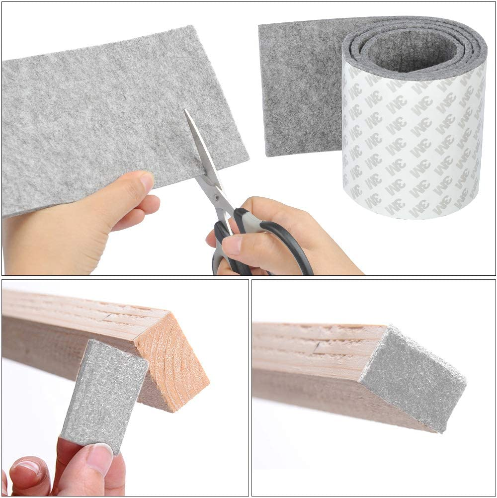 OFNMY 1 Meter Felt Pads DIY Self-Stick Heavy Duty DIY Felt Floor Protector Pads for Furniture with 3M Tapes Hardwood Floors Protectors Cut into Any Shape