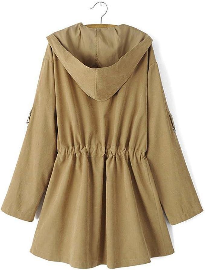 Trench coat à capuche Femmes, Toamen Veste Parka coupe vent Poches Cardigan Manteau mince Manche longue Mode Décontractée (L, Kaki)