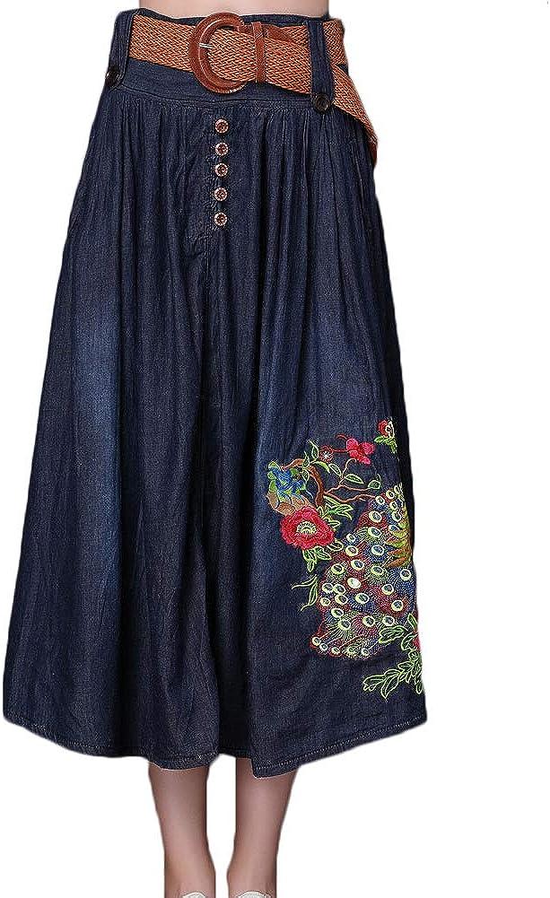 Robe Femme Jupe trap/èze Section Moyenne et Longue Fleurs brod/ées Temp/érament Grande Jupe Simple Boutonnage Ceinture Ceinture