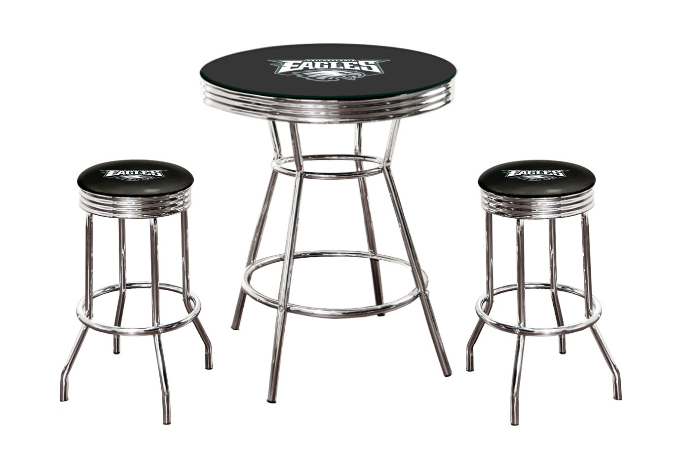 """Black Pub/Bar Table with a Glass Table Top and 2 – 29"""" Swivel Stools All Featuring Your Favorite Football Team Logo (Eagles)"""