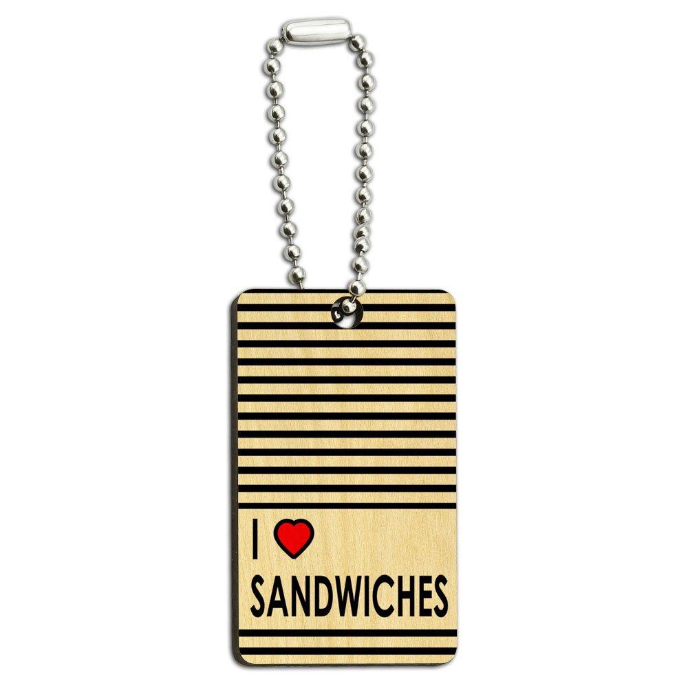 I Love Heart Sandwiches Wood Wooden Rectangle Key Chain