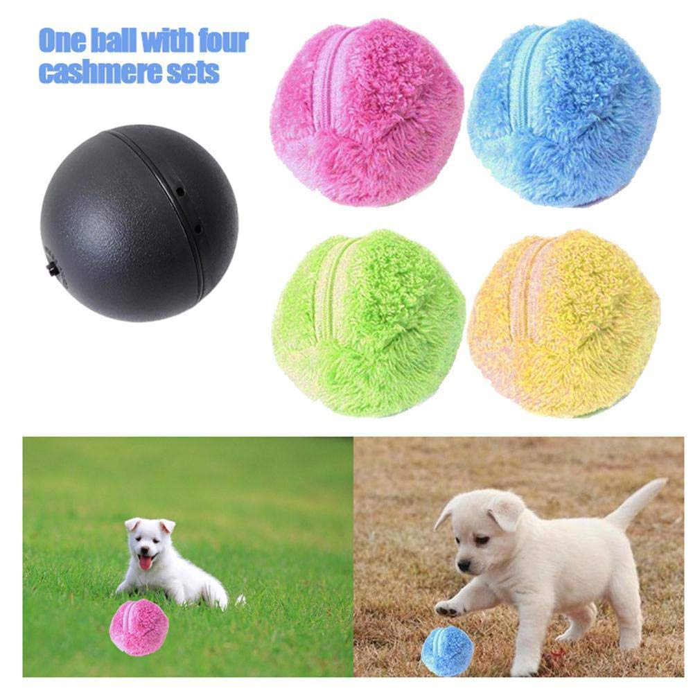 kekai Magic Roller Ball Spielzeug Automatische Rollerball Magic Ball Hund Katze Pet Spielzeug (1 Rolling Ball + 4 Farbe Ball Abdeckung)