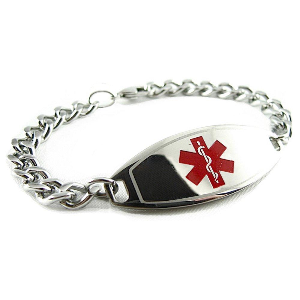 My Identity Doctor Custom Engraved Medical ID Bracelet 316L Steel, Teen & Adult Medium - Red
