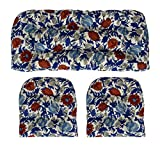 RSH Décor Indoor/Outdoor Wicker Cushions Two U-Shape and Loveseat 3 Piece Set (Red Blue Cream Floral)