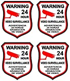 guardian air gun - 4 Pcs Heart-stirring Unique Warning 24 Hour Video Surveillance Sticker Sign Home Window Adhesive Hr Decals Reflective Protected Door Security Trespassing Under Cameras Protect Size 3