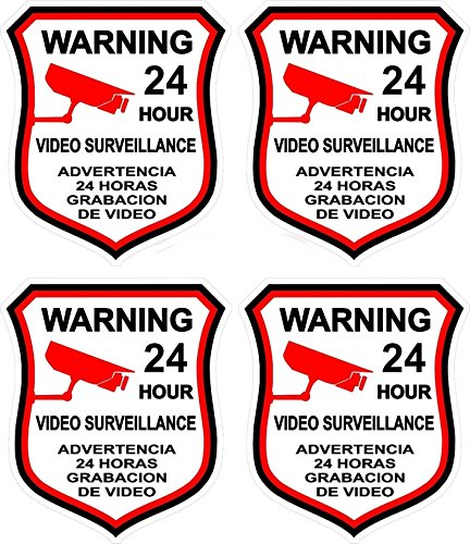 4 Pcs Heart-stirring Unique Warning 24 Hour Video Surveillance Sticker Sign Home Window Adhesive Hr Decals Reflective Protected Door Security Trespassing Under Cameras Protect Size 3