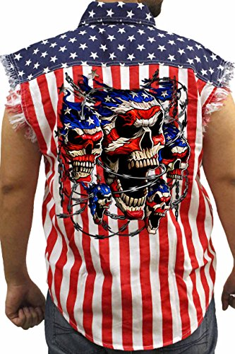 (SHORE TRENDZ Men's USA Flag Sleeveless Denim Shirt Patriotic Skulls with Chains Biker: USA Flag)