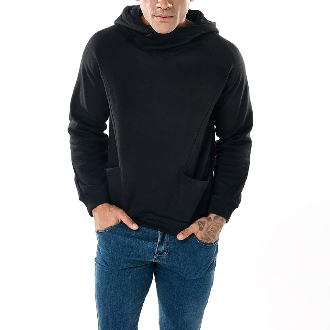 Fieer Mens Sports Solid Hooded Turtleneck Pullover Sweatshirt