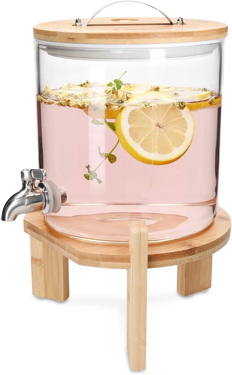 Navaris Dispensador de Bebidas de Cristal - con Capacidad para 5 litros y Grifo - con Soporte y Tapa de Madera para Bebidas Calientes o frías