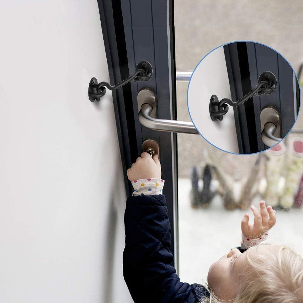 Dylan-EU 2 St/ücke Sturmhaken Schwarz 4 Zoll Kabinenhaken Edelstahl mit Schrauben Fensterhaken f/ür Scheunen Tor Bad Fenster Schiebet/ür T/üren
