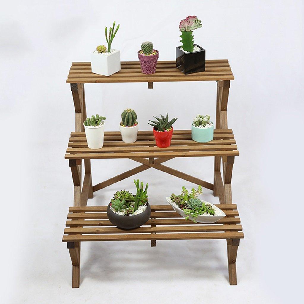 Massivholz Drei Schichten Leiter Blumenregal Home Indoor Regale Einfache Montage Balkon Blumenregal
