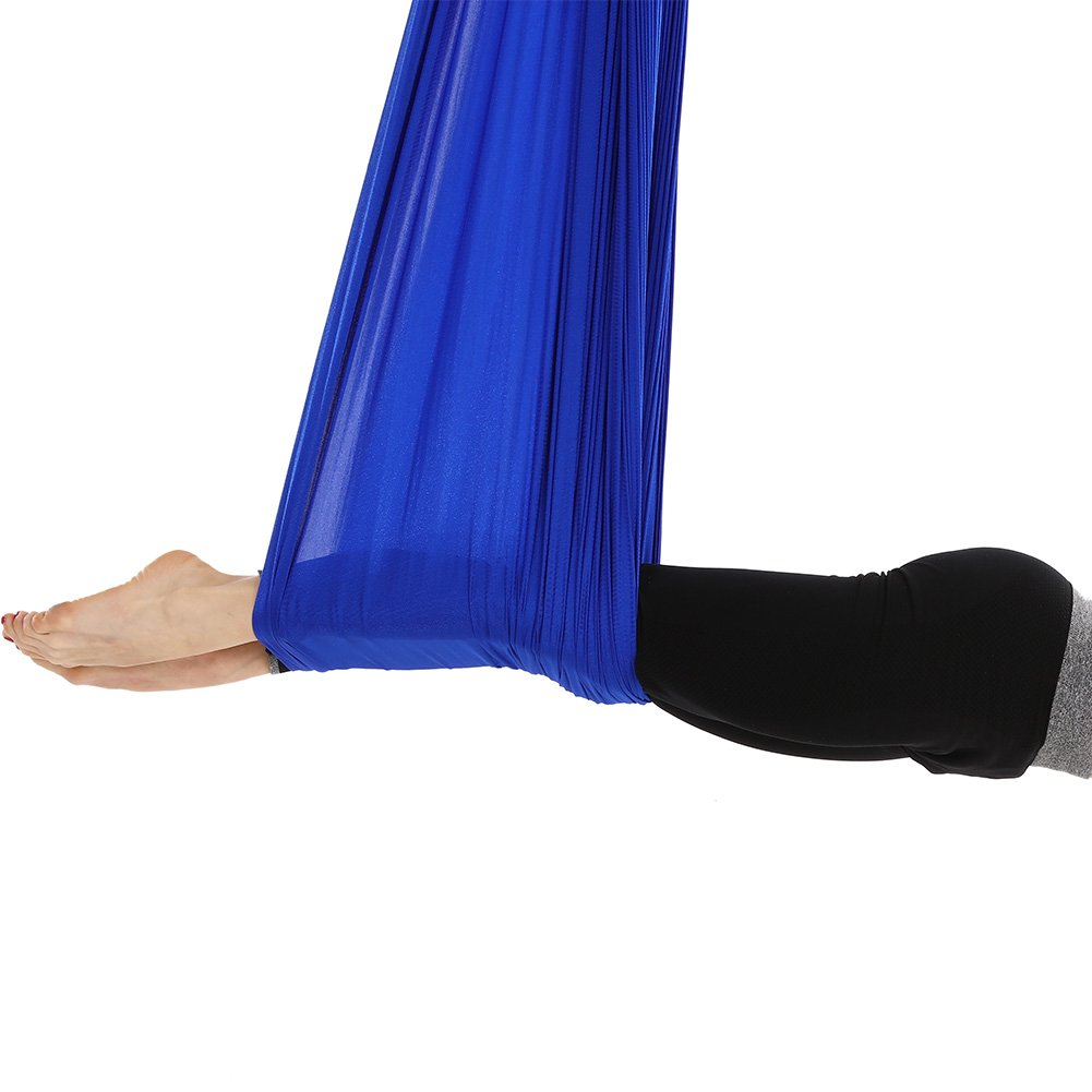 Tofern Aerial Yoga Hammock Kit 5.5 Yards Antigravity Trapeze Inversion Exercise Home Indoor Outdoor Yoga Silk Swing Sling Set with Hardware Ceiling Hooks Bolts 2 Extension Straps, Royal Blue by Tofern (Image #6)