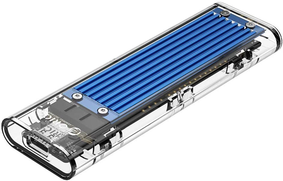 Blue Transparent NVMe M.2 Enclosure Tool-Free USB3.1 Type-C Gen2 10Gbps to M.2 SSD Enclosure for NVME M-Key Portable Solid State Drive External Enclosure up to 2TB
