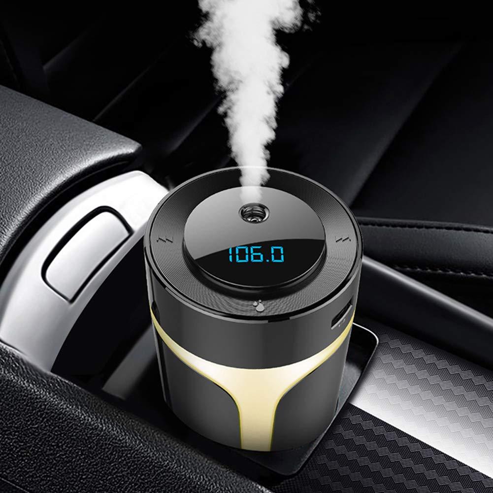 qhtongliuhewu Vivavoce Lettore MP3 trasmettitore FM Bluetooth Caricatore USB Umidificatore per Auto