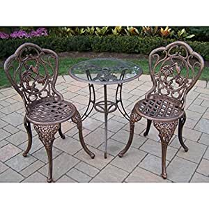 Oakland Living Corporation Lattice 3-piece Bistro Set with 24-inch Tempered Glass Top Table and 2 Chairs