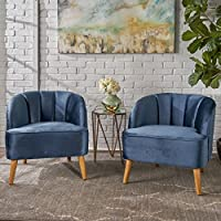 Scarlett Modern Cobalt Velvet Club Chairs (Set of 2)