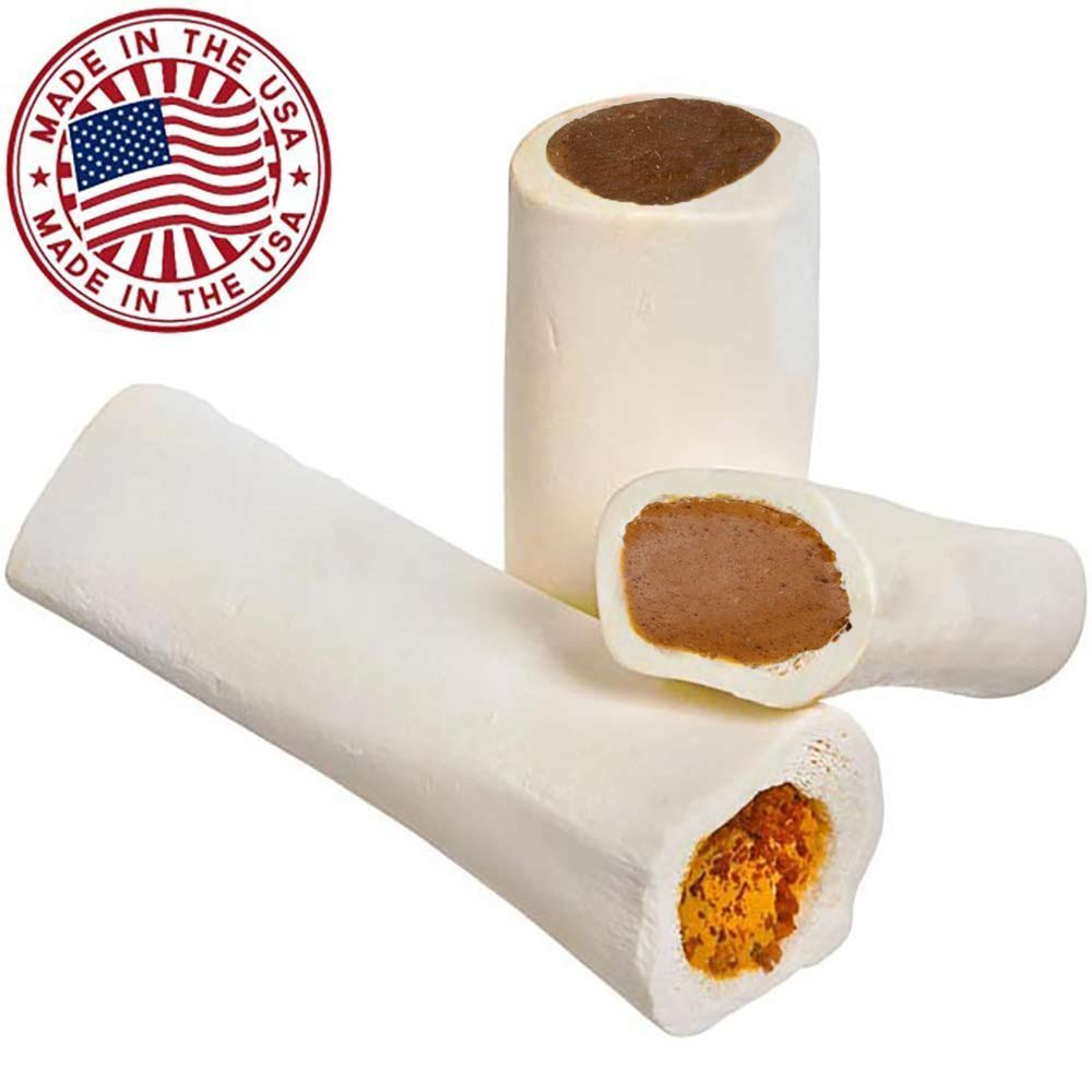 Filled Dog Bones (Flavors: Peanut Butter, Cheese, Bacon, Beef, etc) Made in USA Stuffed Bulk 3 to 6'' Femur Dog Dental Treat & Chew, American Made (Variety Pack, Large (5-6'') - 3 Flavors)