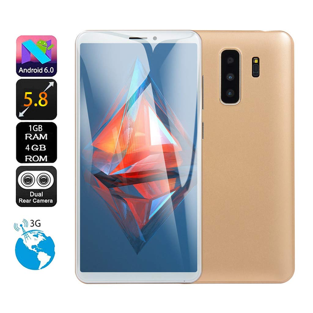CMrtew 5.0 inch 5.8 inch Dual SIM Smartphone HD Camera Android 6.0 1G+4G Full Screen GSM/WCDMA Touch Screen WiFi Bluetooth GPS 3G Call Mobile Phone (Gold, 5.8 inch)