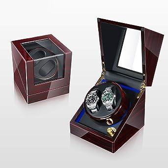 Caja Relojes Automaticos Estuche Doble Caja de enrollador automático para 2 Relojes de Pulsera, 5 Modos de rotación Caja de Almacenamiento con Vitrina, lámpara LED de Ambiente, Adecuada pa: Amazon.es: Relojes
