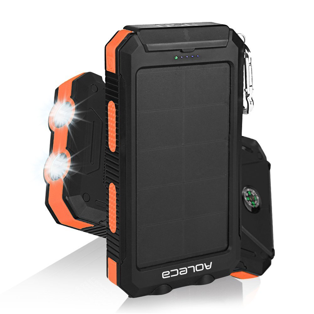 Solar charger Aoleca Portable Solar Power bank 10000mAh Rain-resistant Dirt/Shockproof Dual USB Port and 2 LED Lights with Carabiner Compass for All USB Supported Devices
