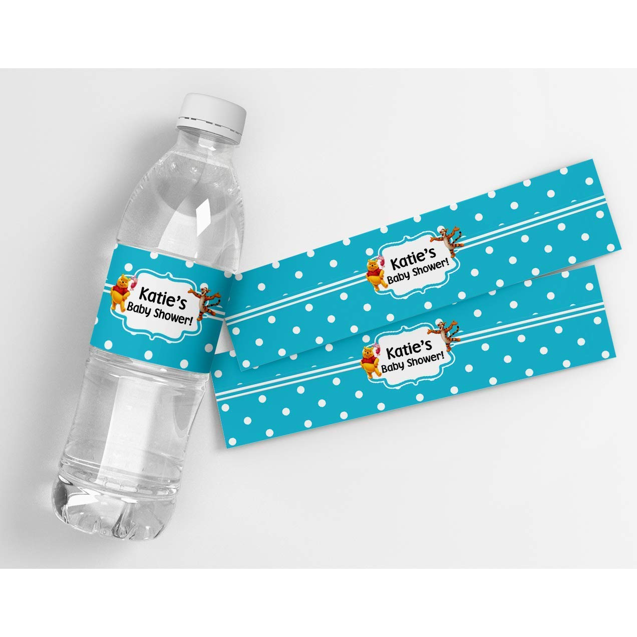 Peel and Stick Waterproof Water Bottle Wrappers for Kids Party Favor Dragon Baby Shower Personalized Printed Water Bottle Labels