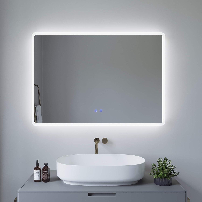 Kaltwei/ß 6400K AQUABATOS 100x70cm Badspiegel mit Beleuchtung Badezimmerspiegel LED Lichtspiegel Wandspiegel Energiesparend Touch-Schalter Dimmbar IP44 Warmwei/ß 3000K Spiegelheizung