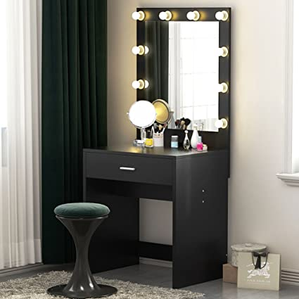 Tribesigns Vanity Set With Lighted Mirror Makeup Dressing Table Dresser  Desk For Bedroom 10 Warm White