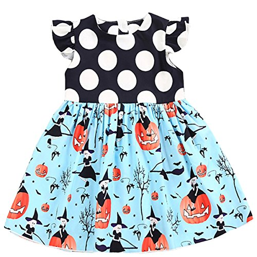 Halloween Dresses For Toddlers (Toddler Kids Baby Girls Halloween Pumpkin Cartoon Dress Halloween Best Gift (2 T, Light Blue))
