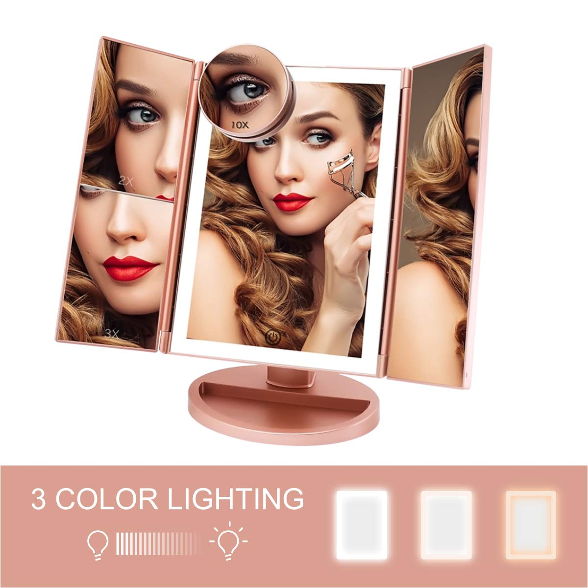 FASCINATE Trifold Lighted Makeup Mirror 3 Color Lighting 36 LEDs Makeup Vanity Mirror with 10X 3X 2X 1X Magnification, Cord Cordless, 180 Rotation Portable High-Definition Cosmetic Mirror Rose Gold