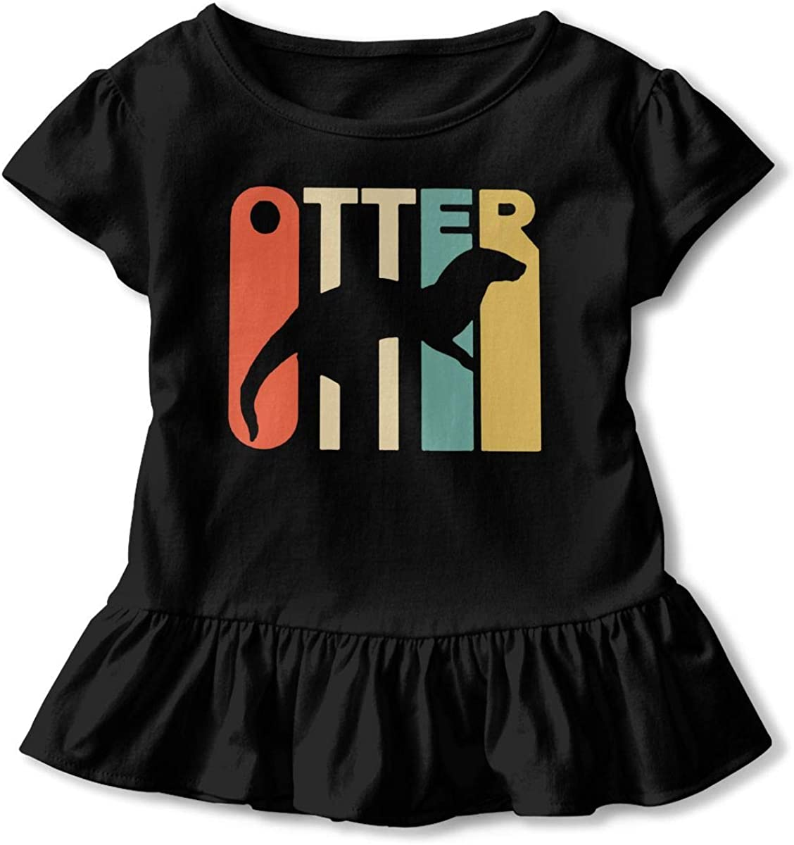 2-6T Zi7J9q-0 Short-Sleeve Style Otter Shirts for Children Cute Blouse Clothes with Falbala