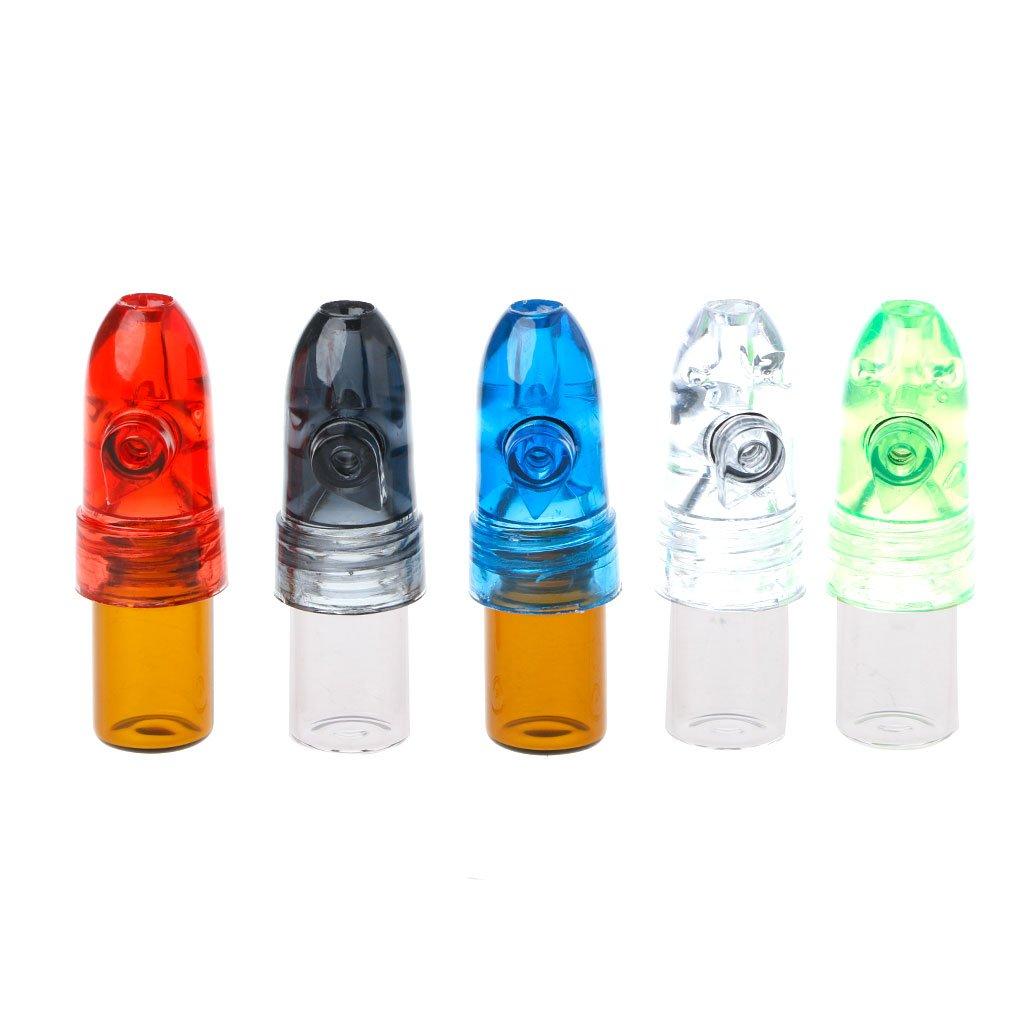 Aixia 5pcs 53mm Acrylic Plastic Snuff Dispenser Bullet Rocket Snorter Glass Vial by Aixia