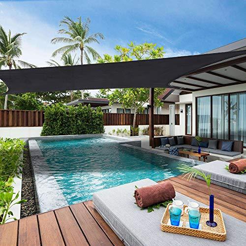 Lehood 13 x 20 Sun Shade Sail Rectangle Canopy Gray, Shade Sail UV Block for Yard Patio Lawn Garden Deck