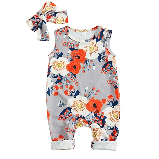 26a37aea3a715 Newborn Baby Girl Clothes Floral Long Sleeve Footless Romper Jumpsuit Cotton