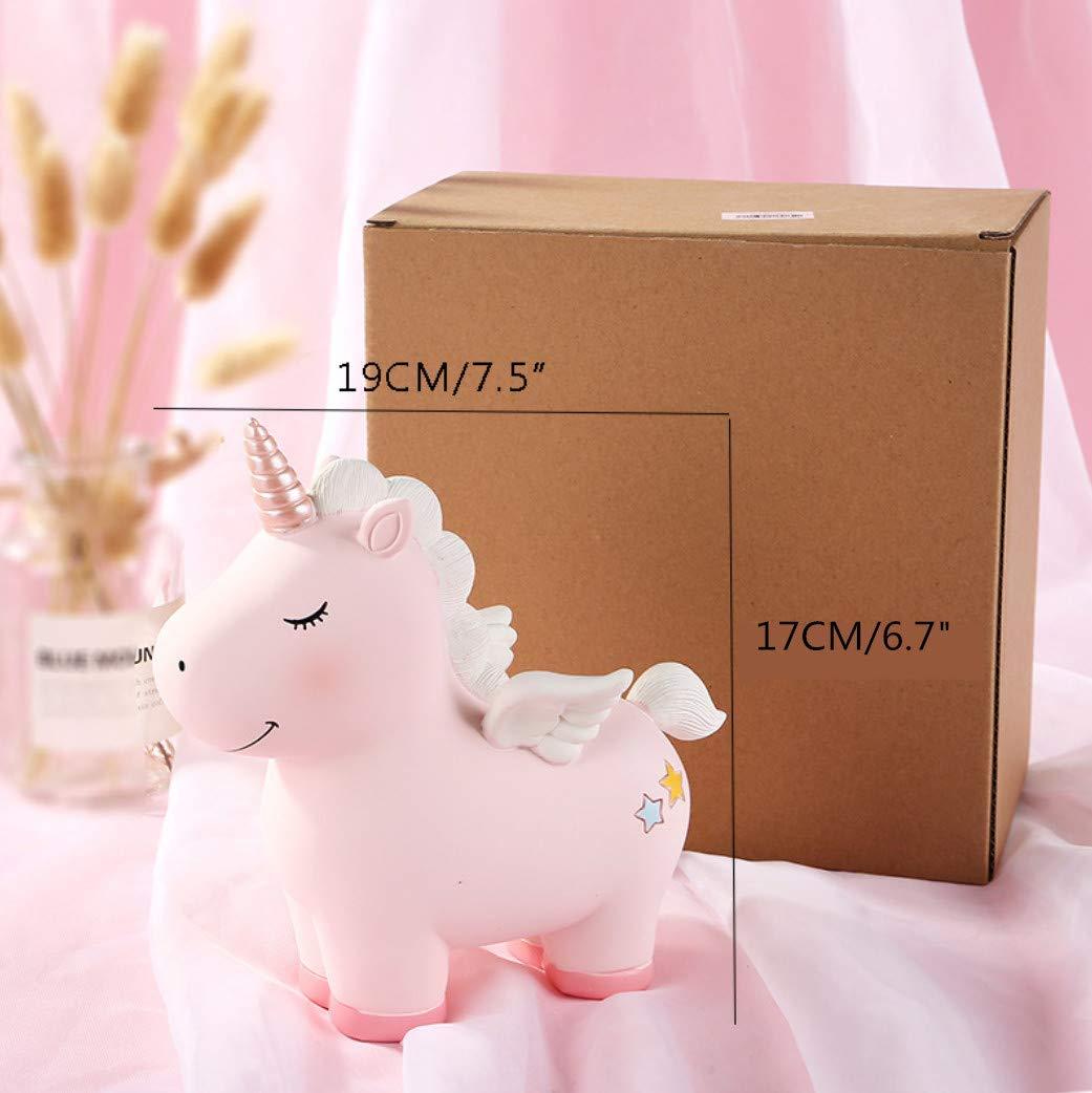 Amigos y ni/ños Hucha de Resina con dise/ño de Unicornio para ni/ños KeepGrace Color Rosa
