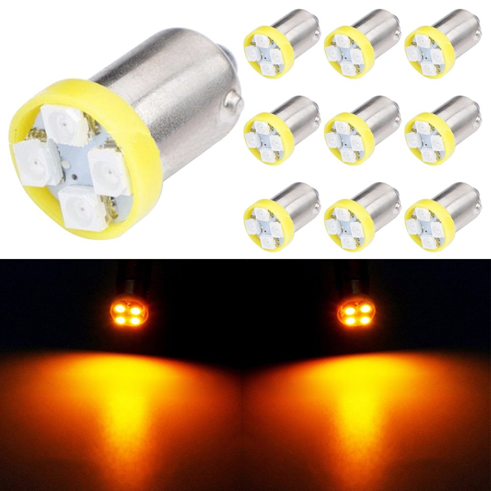 TABEN 10pcs BA9S Super Bright 8000K Blue 1210-4SMD LED Lights Bulbs BA9 53 57 1895 64111 Side Door Courtesy Lights Map Dome Lights
