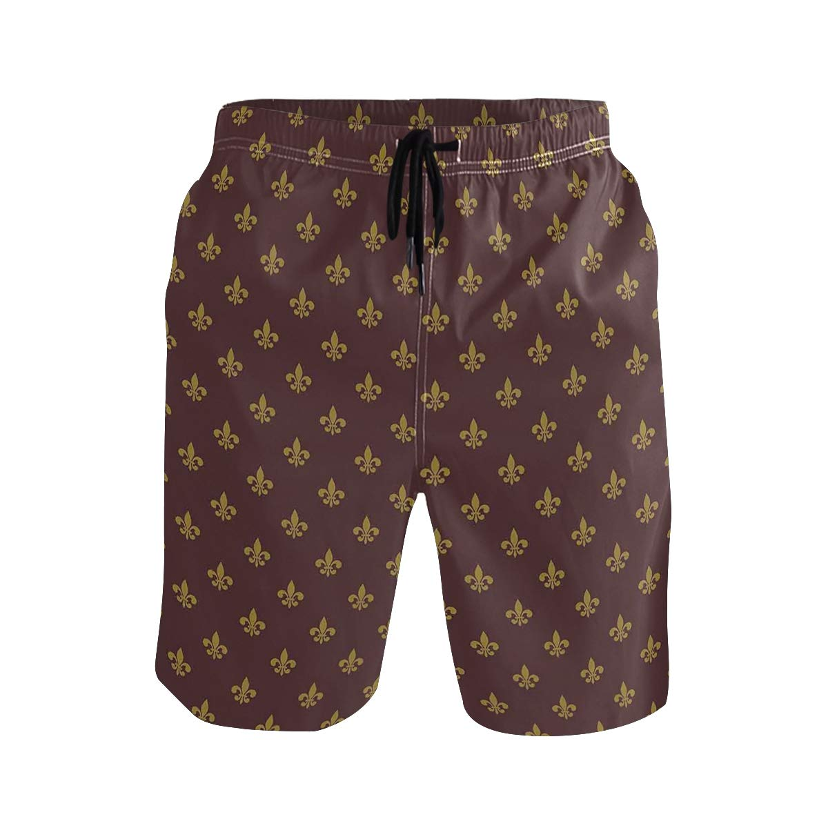 COVASA Mens Summer ShortsFrench Inspired Pattern European Culture Abstract Vin