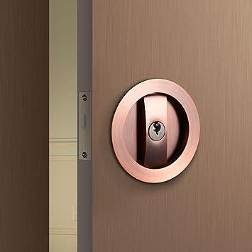 ccjh Simple forma redonda Invisible puerta cerraduras con llaves para puerta de madera granero deslizante: Amazon.es: Hogar