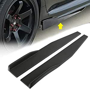 Spoiler Extension Winglet Wind Blades Rocker Splitter by IKON MOTORSPORTS PU V4 Style Unpainted Black Polyurethane Side Skirts Compatible With Universal